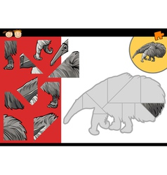 Cartoon anteater jigsaw puzzle game vector