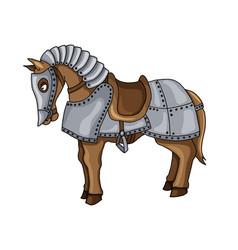Cartoon character of war horse in armour suit vector