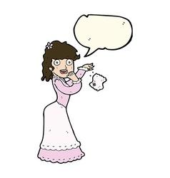 cartoon victorian woman dropping handkerchief with vector image