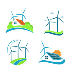 clean energy icons set vector image