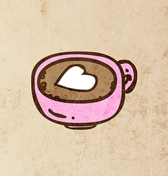 Coffee with a Love Heart Cartoon vector image