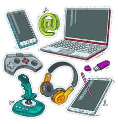 computer stickers joystick headphones and laptop vector image