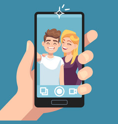 couple selfie young friends make romantic selfie vector image