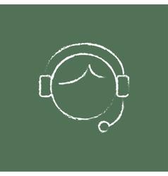 Customer service icon drawn in chalk vector image