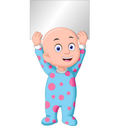 cute little boy in pajama hold black sign board vector image