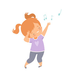 Cute redheaded girl singing and dancing adorable vector