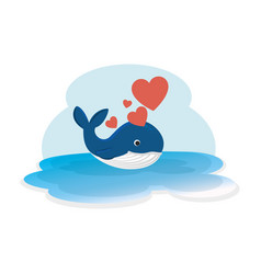 cute whale with hearts in ocean character vector image