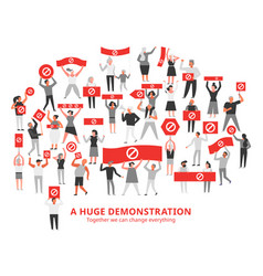 Demonstration crowd protesting vector
