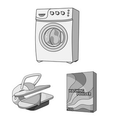 Dry cleaning equipment monochrome icons in set vector