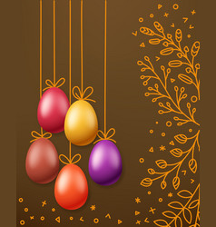 easter greeting card template holiday banner vector image
