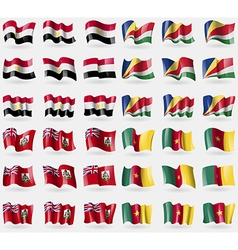 Egypt seychelles bermuda cameroon set of 36 flags vector