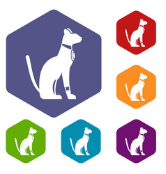 Egyptian cat icons set hexagon vector