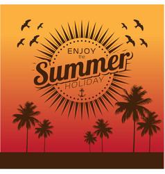enjoy the summer holiday sunset background vector image