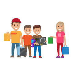 Family shopping shopping collection vector
