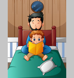 Father and his son reading a book in bed vector