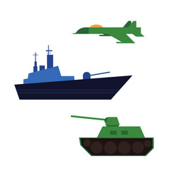 Flat army military fatherland defender set vector