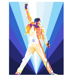 Freddie mercury iconic pose in colorful art vector