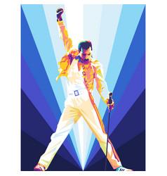 Freddie mercury iconic pose in colorful wpap art vector