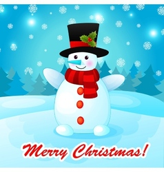 Funny Cartoon Snowman on Christmas Background vector image