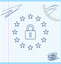 gdpr - general data protection regulation line vector image