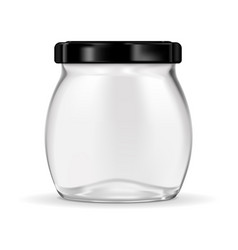 Glass jar with black lug cap vector