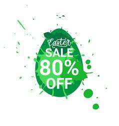green easter sale sticker egg over paint splash vector image