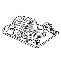 happy christmas special roasted pork menu vector image