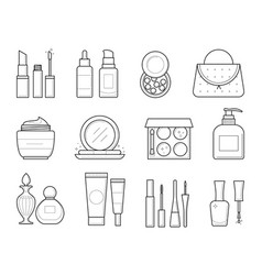 icons of makeup tools vector image