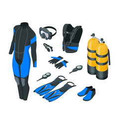 Isometric scuba gear and accessories equipment vector