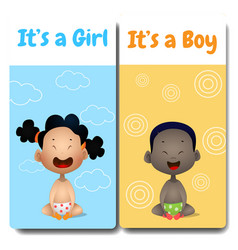 its a boy and its a girl cards hello baby card vector image