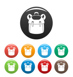 Kid backpack icons set color vector