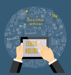 Learn online with tablet vector