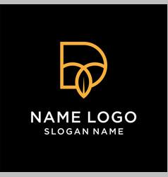 letter d leaf logo vector image