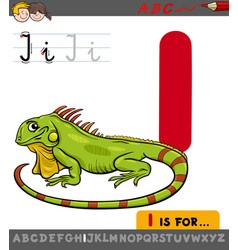 Letter i with cartoon iguana vector