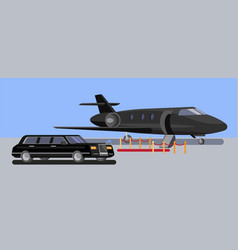 Limousine car and private jet flat vector