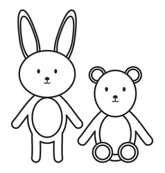 little bear teddy with bunny stuffed toys vector image