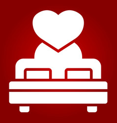 Lovers bed with heart glyph icon valentines day vector