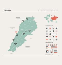 Map lebanon high detailed country vector