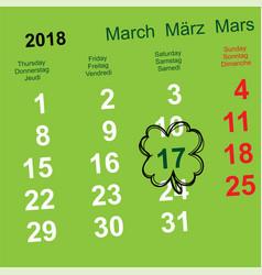 march 17 day of st patrick leaf clover calendar vector image