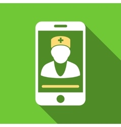 Mobile Doctor Flat Long Shadow Square Icon vector