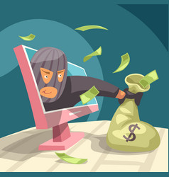 Modern thief stealing money from your pc vector