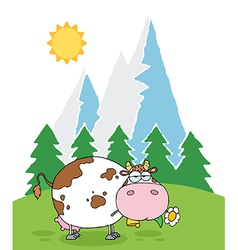 Mountain Dairy Cow With Flower In Mouth vector