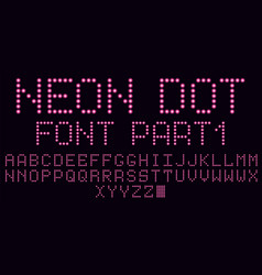 neon dot font in pink part 1 vector image