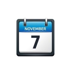 November 7 calendar icon flat vector