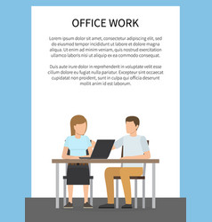 office work colorful poster vector image