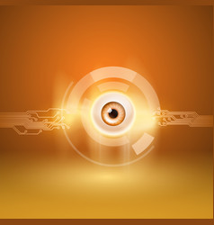 Orange background with eye and circuit vector