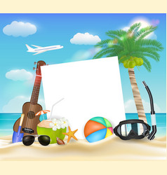 paper ball glasses diving mask ukulele on beach vector image