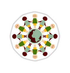 Paper sticker on white background people earth vector