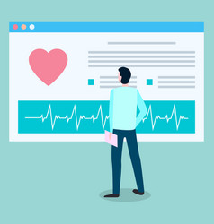 patient looks at medical card with cardiogram vector image