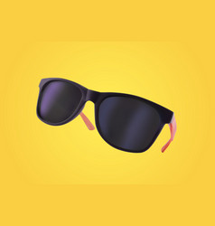 realistic sunglasses on yellow background vector image